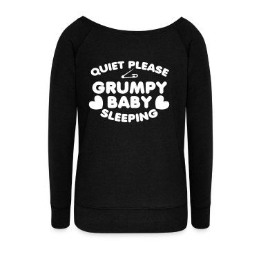 Quiet PLEASE GRUMPY baby sleeping with a safety pin and love hearts Long Sleeve Shirts