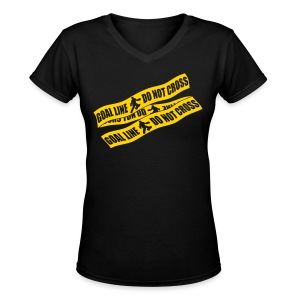 Goal Line Do Not Cross (field hockey) Women's V-Neck T-Shirt - Women's V-Neck T-Shirt