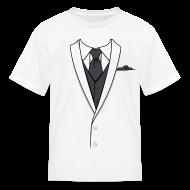 Kids' Shirts ~ Kids' T-Shirt ~ Tuxedo T Shirt White Long Tie Youth