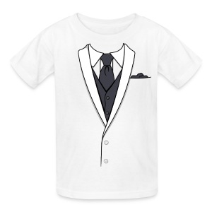 Tuxedo T Shirt White Long Tie Youth - Kids' T-Shirt