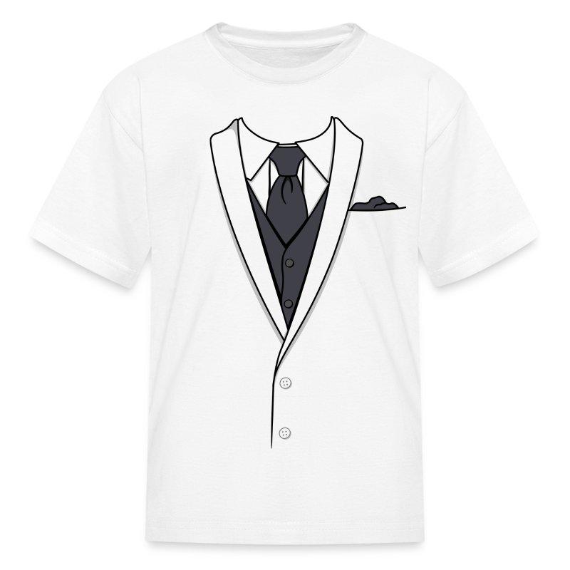 Fake white tuxedo t shirt spreadshirt for Tuxedo shirt vs dress shirt