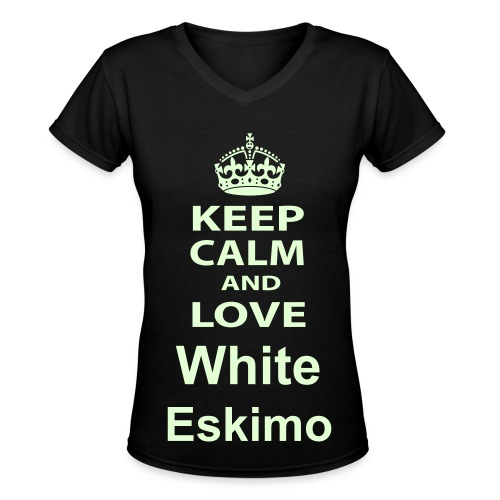 Keep Calm and Love White Eskimo Tee - Women's V-Neck T-Shirt