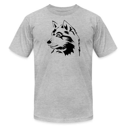 animal t-shirt wolf wolves pack hunter predator howling wild wilderness dog husky malamut - Men's Fine Jersey T-Shirt