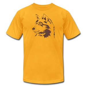 animal t-shirt wolf wolves pack hunter predator howling wild wilderness dog husky malamut - Men's T-Shirt by American Apparel