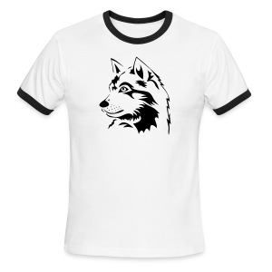 animal t-shirt wolf wolves pack hunter predator howling wild wilderness dog husky malamut - Men's Ringer T-Shirt