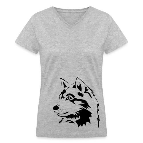 animal t-shirt wolf wolves pack hunter predator howling wild wilderness dog husky malamut - Women's V-Neck T-Shirt