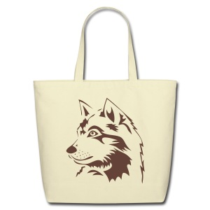 animal t-shirt wolf wolves pack hunter predator howling wild wilderness dog husky malamut - Eco-Friendly Cotton Tote