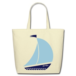 Beach Bag with a Boat on it - Eco-Friendly Cotton Tote