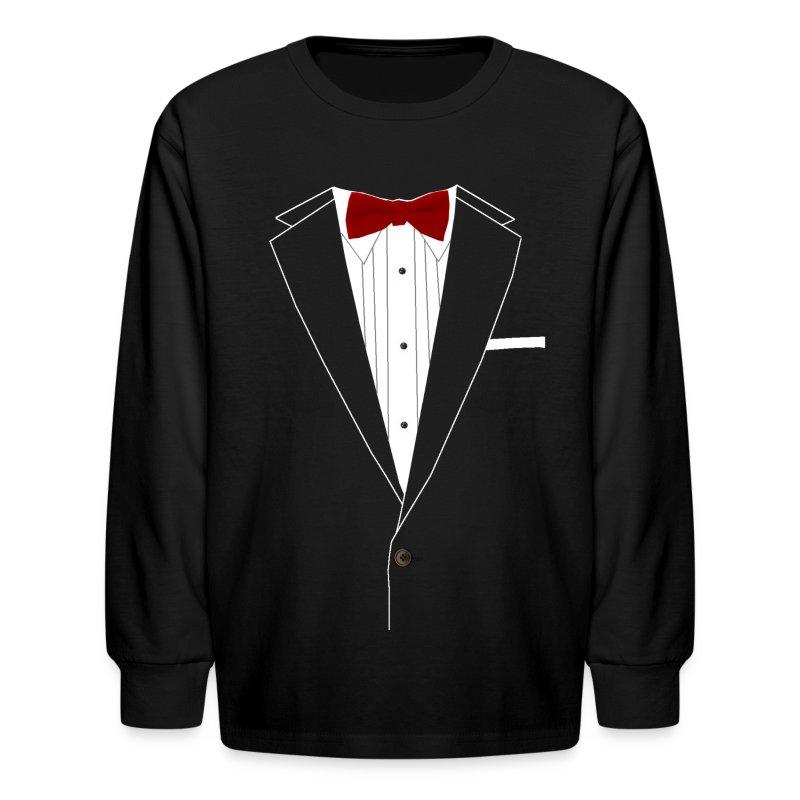 Tuxedo red bowtie long sleeve shirt spreadshirt for Make your own tuxedo t shirt