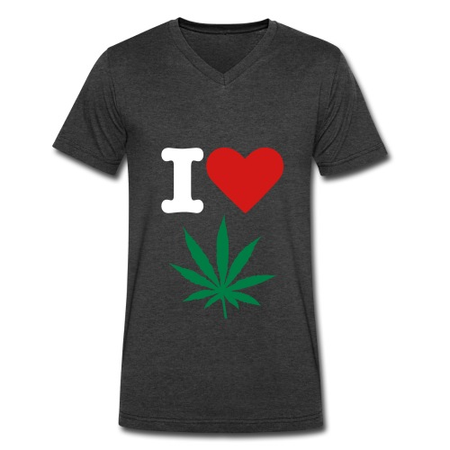 I Love Weed - Men's V-Neck T-Shirt by Canvas