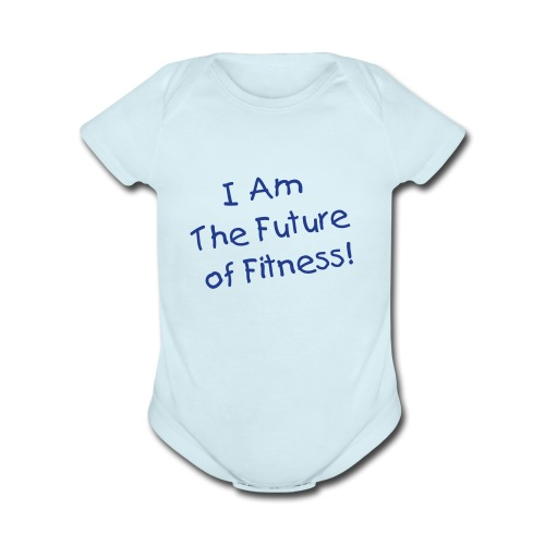 Future of Fitness Baby Onsie - Shimmer Blue - Organic Short Sleeve Baby Bodysuit