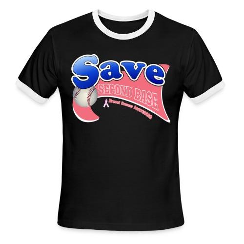 Tri County Pink Warriors Save 2nd Base Ringer Tee - Men's Ringer T-Shirt