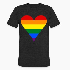 Gay Pride Rainbow Heart Funky Men's Tri-Blend Vintage T-Shirt by American Apparel