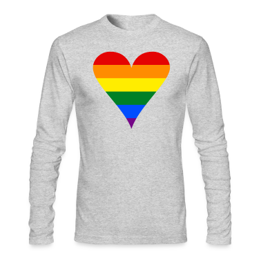 Gay Pride Rainbow Heart Funky Men's Long Sleeve T-Shirt by American Apparel