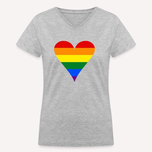 Gay Pride Rainbow Heart Funky Women s V-Neck T-Shirt 74e3ffeaaa