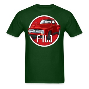 Illustration of a second generation red Ford F-100 - Men's T-Shirt