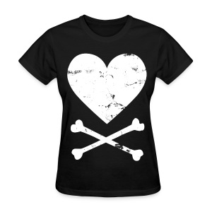 Distressed White Heart & Crossbones Shirt - Women's T-Shirt