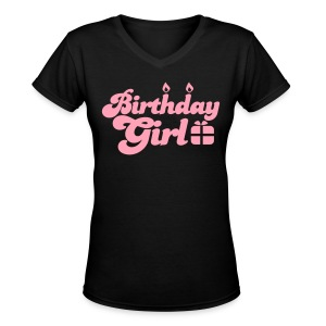 birthday girl new with present Women's T-Shirts - Women's V-Neck T-Shirt