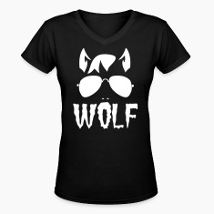 wolf face man with type and aviator sunglasses good halloween costume Women's T-Shirts