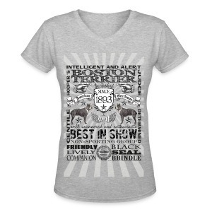 Boston Terrier 'Best in Show' Women's Tshirt - Women's V-Neck T-Shirt