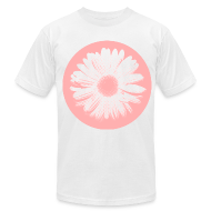 T-Shirts ~ Men's T-Shirt by American Apparel ~ Pink Beige Circled Flower Graphic Print Premium T-Shirt