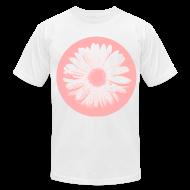 T-Shirts ~ Men's T-Shirt by American Apparel ~ Pink Beige Circled Flower Graphic Print Premium T-Shirt