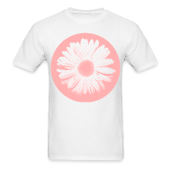 T-Shirts ~ Men's T-Shirt ~ Pink Beige Circled Flower Graphic Print Classic Cut T-Shirt