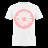T-Shirts ~ Men's T-Shirt ~ Pink Beige Circled Flower Graphic Print Classic Cut T-Shirt