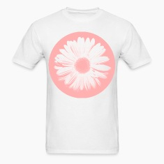 Pink Beige Circled Flower Graphic Print Classic Cut T-Shirt