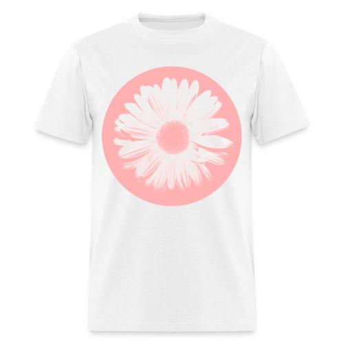 Pink Beige Circled Flower Graphic Print Classic Cut T-Shirt - Men's T-Shirt