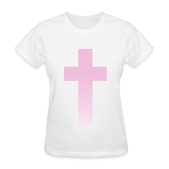 T-Shirts ~ Women's T-Shirt ~ PINK OMBRE CROSS - LADIES TSHIRT