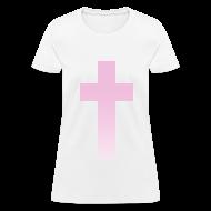 Women's T-Shirts ~ Women's T-Shirt ~ PINK OMBRE CROSS - LADIES TSHIRT