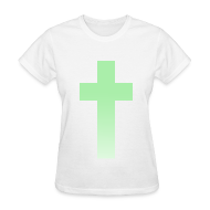 T-Shirts ~ Women's T-Shirt ~ MINT OMBRE CROSS - LADIES TSHIRT