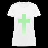 Women's T-Shirts ~ Women's T-Shirt ~ MINT OMBRE CROSS - LADIES TSHIRT