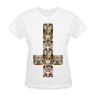 T-Shirts ~ Women's T-Shirt ~ INVERTED CAT CROSS - LADIES TSHIRT