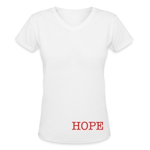 Women's V-Neck T-Shirt - *A portion of all proceeds will be donated to HIV/AIDS awareness