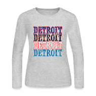 Long Sleeve Shirts ~ Women's Long Sleeve Jersey T-Shirt ~ Detroit Colors
