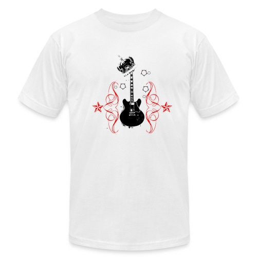 Men's Fine Jersey T-Shirt - Guitar/crown design-front The Grounders/lower right guitar design-back