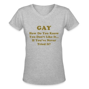Gay (womens) V-neck - Women's V-Neck T-Shirt
