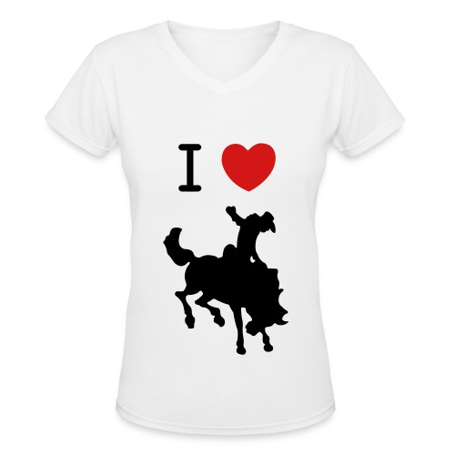 I Heart Cowboys V-Neck - Women's V-Neck T-Shirt