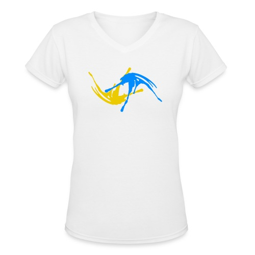 Yellow & Blue Paint Splatter Colorful Graffiti Graphic Design Picture - Cool tshirt and Hoodie Sweater! - Women's V-Neck T-Shirt