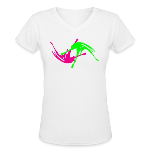 Pink & Green Paint Splatter Colorful Graffiti Graphic Design Picture - Cool tshirt and Hoodie Sweater! - Women's V-Neck T-Shirt