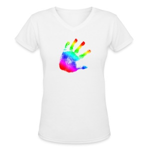 Handprint Graphic Design | Rainbow | Cool Tshirt or Hoodie Clothing Picture! - Women's V-Neck T-Shirt