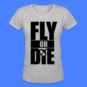 Fly Or Die Women's T-Shirts - stayflyclothing.com - Women's V-Neck T-Shirt