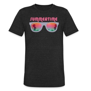 summertime sunglasses palms and beach T-Shirts - Unisex Tri-Blend T-Shirt by American Apparel