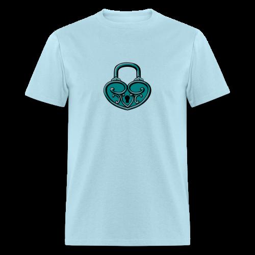 Pop My Lock 3D-Turquoise/Silver - Men's T-Shirt