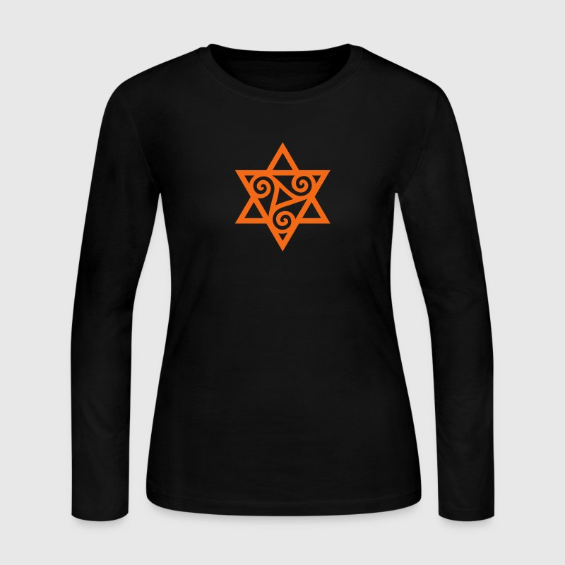 TRISKELE: Yin power symbol, vector, Merkaba, Energy Symbol, Protection Force T-Shirts - Women's Long Sleeve Jersey T-Shirt