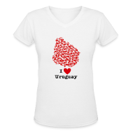 Women's T-Shirts ~ Women's V-Neck T-Shirt ~ I Love Uruguay V-Neck