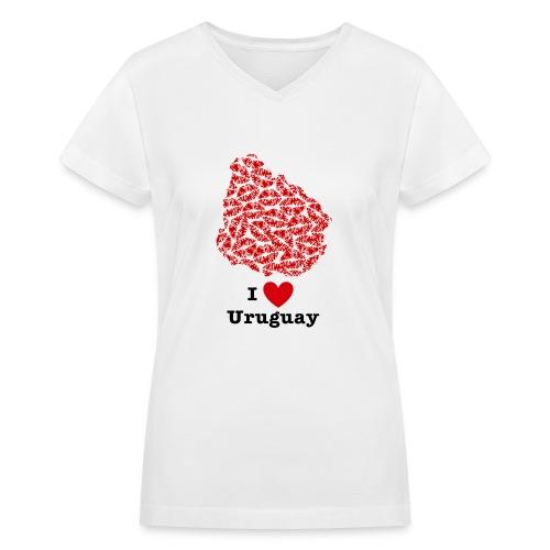 I Love Uruguay V-Neck - Women's V-Neck T-Shirt