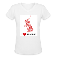 T-Shirts ~ Women's V-Neck T-Shirt ~ I Love The U.K. V-Neck